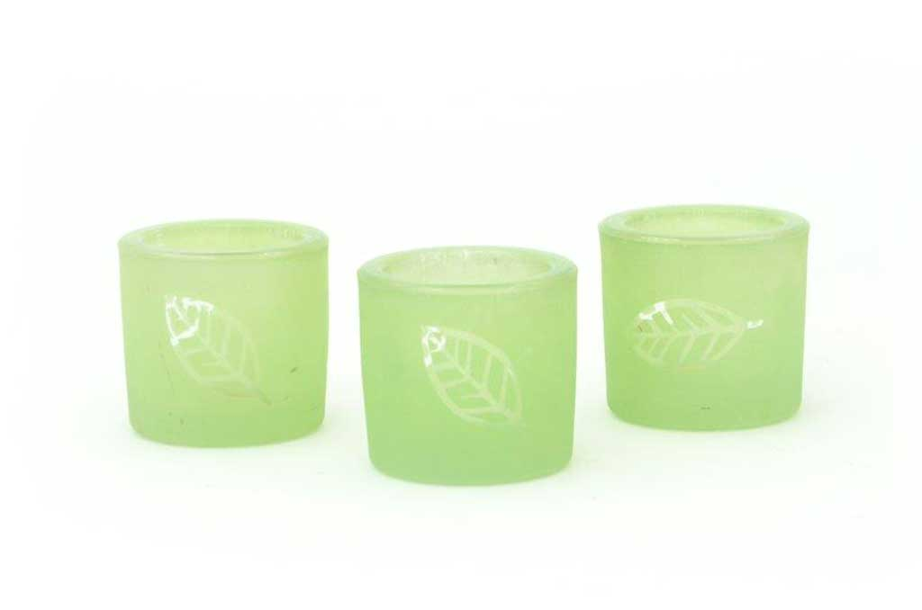 votives green leaf glass