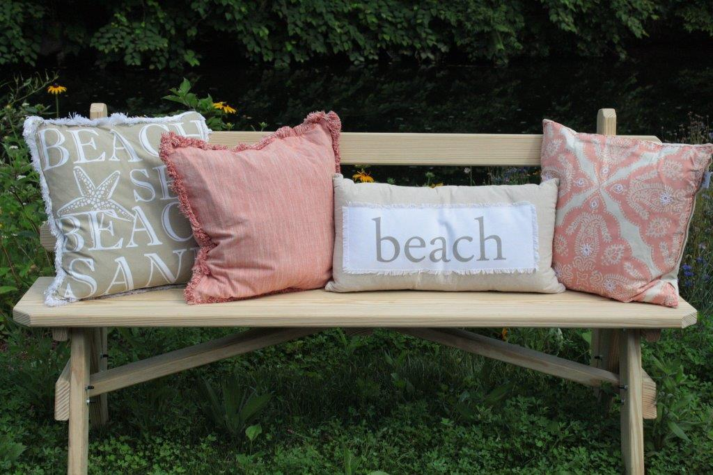 bench with pillows